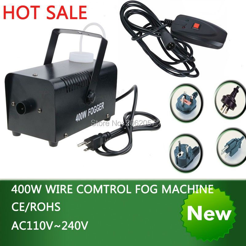 Hot sale colorful package mini 400W Wire control fog machine pump dj <font><b>disco</b></font> smoke machine wedding party stage Lampblack machine