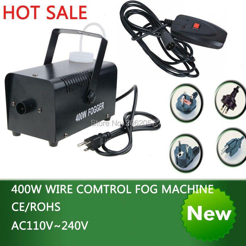 Offre spéciale paquet coloré mini 400 W contrôle de fil machine à brouillard pompe dj disco machine à fumée scène de mariage machine noir de fumée