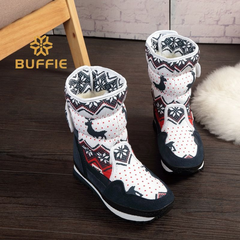Women winter warm boots antiskid outsole Lady <font><b>snow</b></font> boots navy red Christmas Deer Brand fashion style easy wear Buckle boots plus