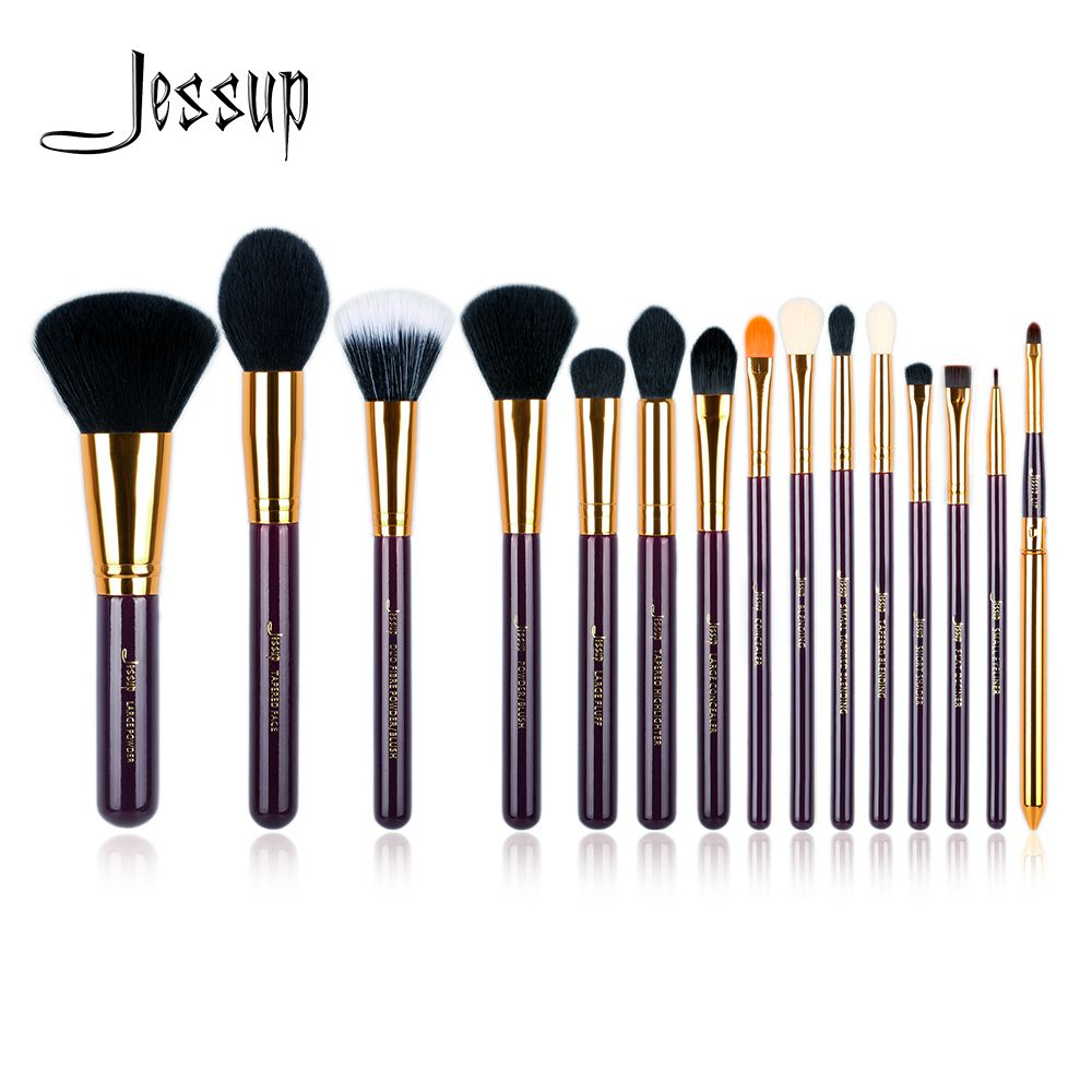Jessup set 15pcs Purple/ Gold Makeup Brushes Set Cosmetics Tool Make up Brush Powder Foundation Eyeshadow Eyeliner Lip