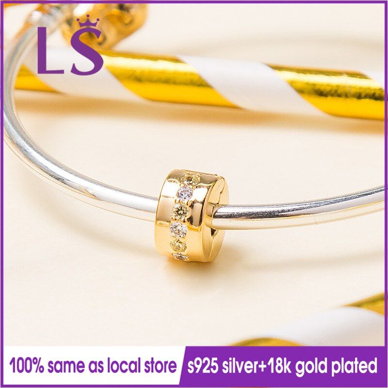LS 2018 New 100% Gold Yellow Shining Path Clip Charm Fit Original Bracelets Pulseira Encantos Beads DIY Jewelry Gifts N