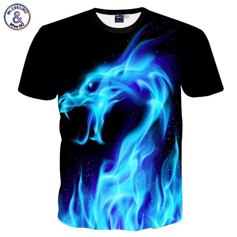 Mr.1991INC Fresco de la Camiseta de Los Hombres/de Las Mujeres 3d Camiseta De Impresión Serpiente de Fuego Azul de Manga Corta de Verano Tops Tees camiseta de La Moda