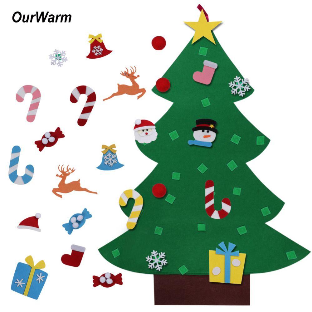 Ourwarm Дети DIY Фетр Рождество дерево с Украшения детей рождественские подарки для 2018 Новый год дверь стене висит рождественские украшения