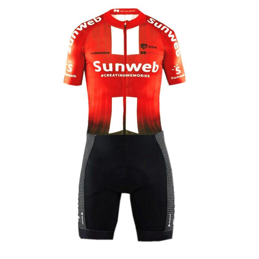 2019 pro team sunweb rot aero Radfahren skinsuit one piece kurzarm sommer body bike kleidung MTB Ropa Ciclismo speedsuit