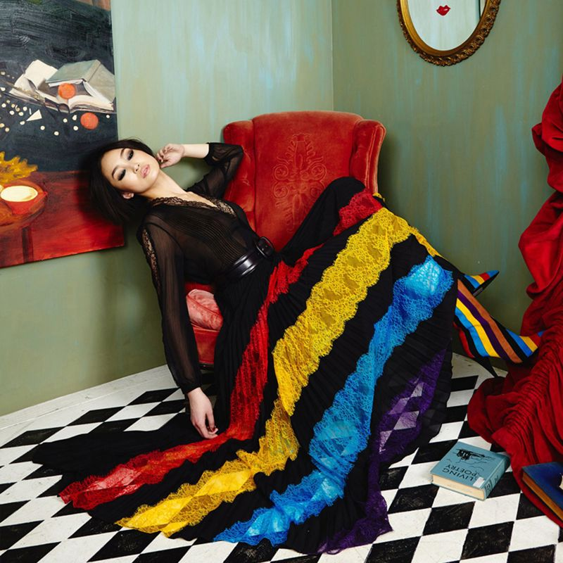 HIGH QUALITY Summer Fashion 2018 Designer Runway Maxi Dress Women's Long Sleeve Colorful Lace V-Neck Color Block Long Dress