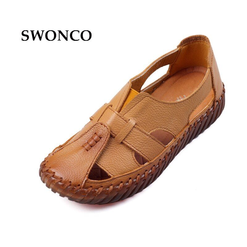 SWONCO Women's Sandals 2018 Summer Genuine Leather Handmade Ladies Shoe Leather Sandals Women Flats Retro Style Mother Shoes