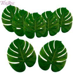 FENGRISE hojas de palma artificiales Luau Hawaiano tema decorativo hojas de palma para decoración de la boda Navidad Año Nuevo