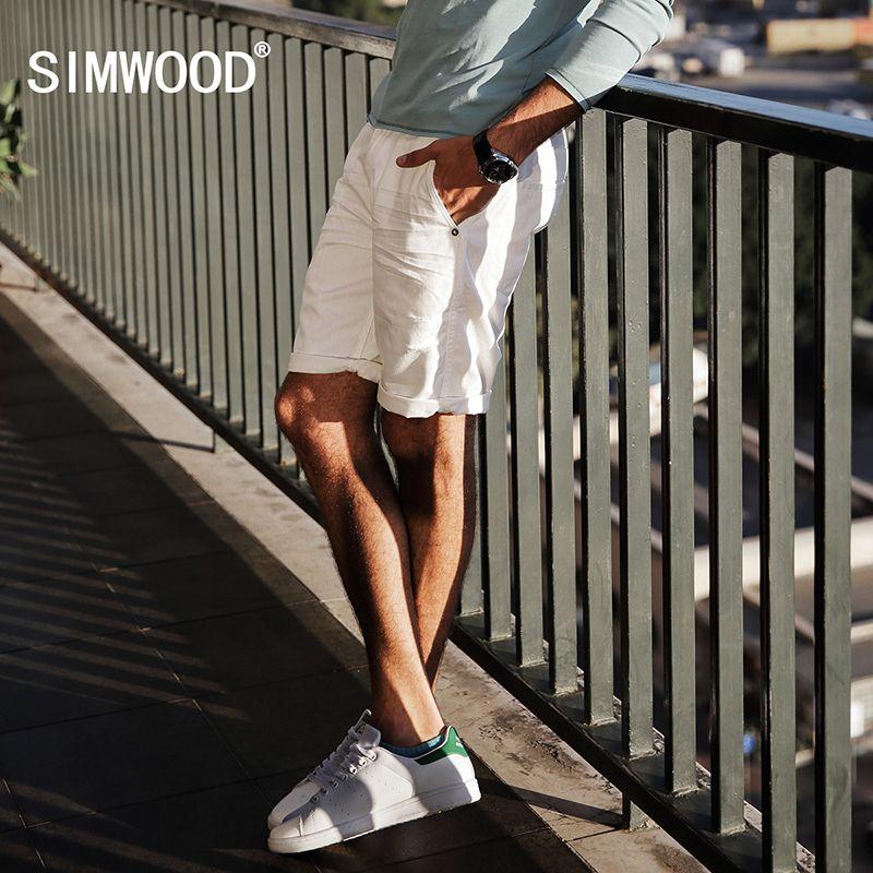 Simwood 2018 Лето Джинсовые шорты Для мужчин отверстие 100% натуральный хлопок рваные брендовая одежда карман брендовая одежда kd5060