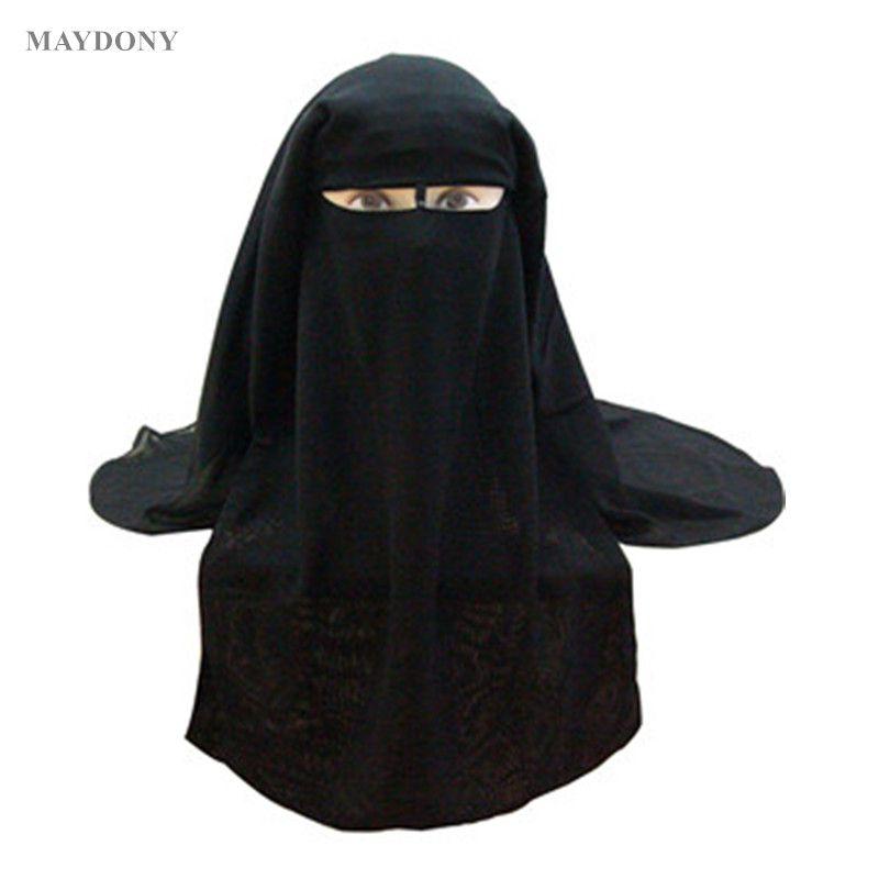 Bandana musulman écharpe islamique 3 couches Niqab Burqa Bonnet Hijab casquette voile chapeaux noir visage couverture Abaya Style Wrap tête couverture