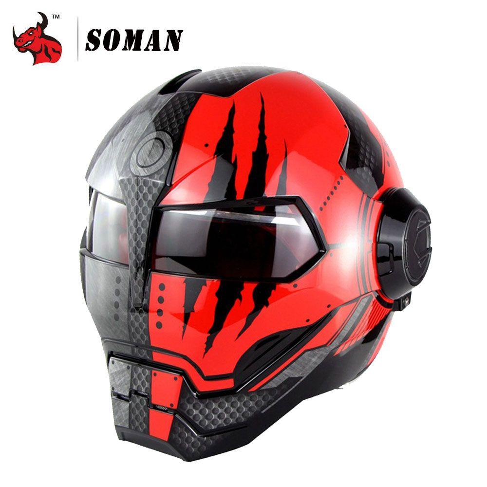SOMAN Motorcycle Helmet Iron Man Helmet Motorbike Capacetes Casco Retro Casque Moto Riding Helmet Casque Motocross