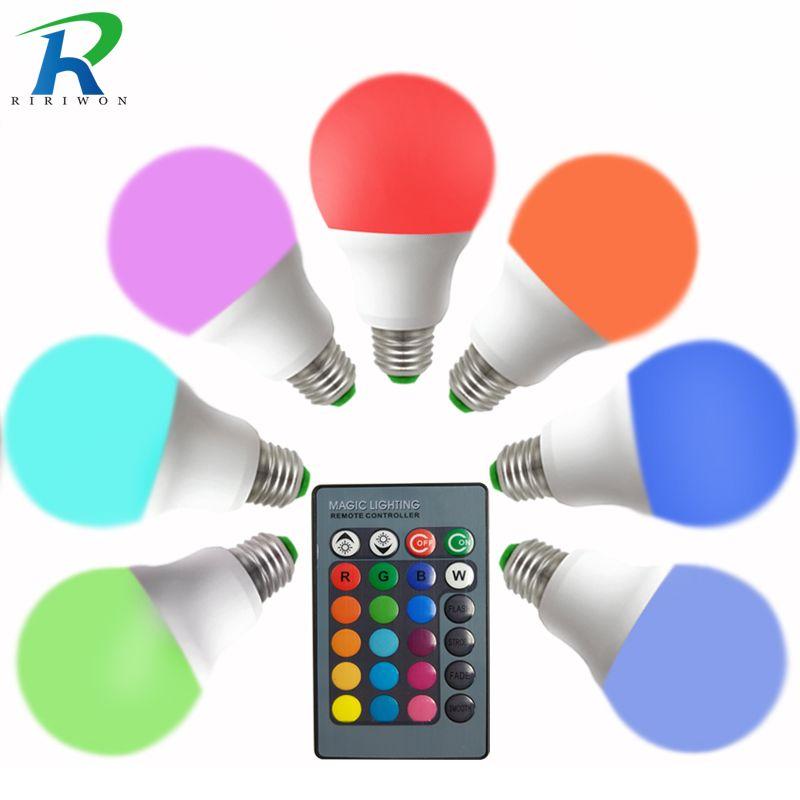 E27 лампа RGB светодиодные лампы 3 Вт 5 Вт 7 Вт 9 Вт LED AC 220 В 110 В LED RGB лампада 16 Цвет ИК Дистанционное управление дома Рождество украшения
