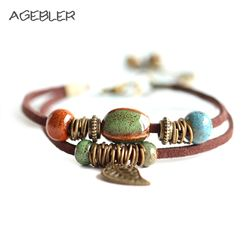 Hot Bohemia jewelry Men Bracelets Ceramic Leather Bracelet & Bangles for Women Colorful Bead Leaf Pendant Bell 2018