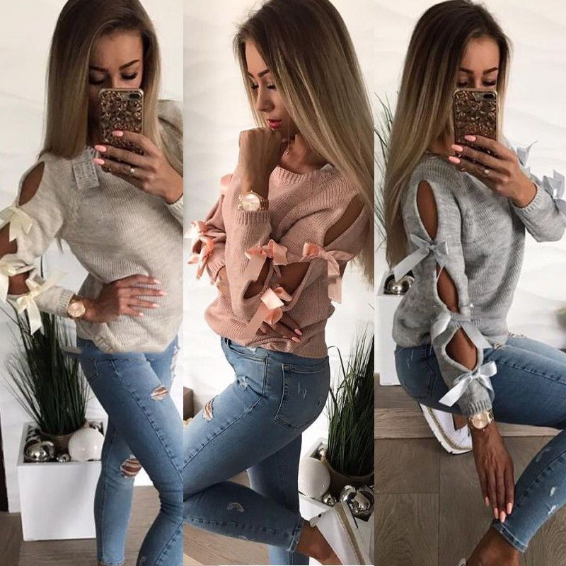 New Women Sweaters Bow Hollow Out Long Sleeve Knitted Sweater Pullover Loose Tops Autumn Casual Women Clothes Knitwear