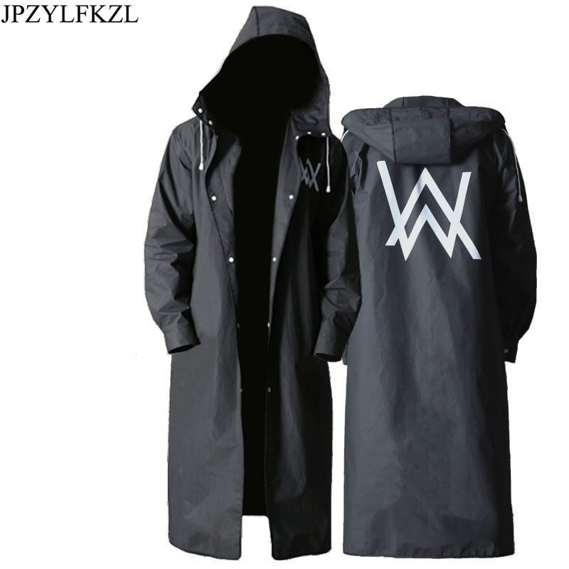 JPZYLFKZL Stylish EVA Black Adult Raincoat Alan Walker Pattern Outdoor Men's Long Style Hiking Poncho Environmental rain coat