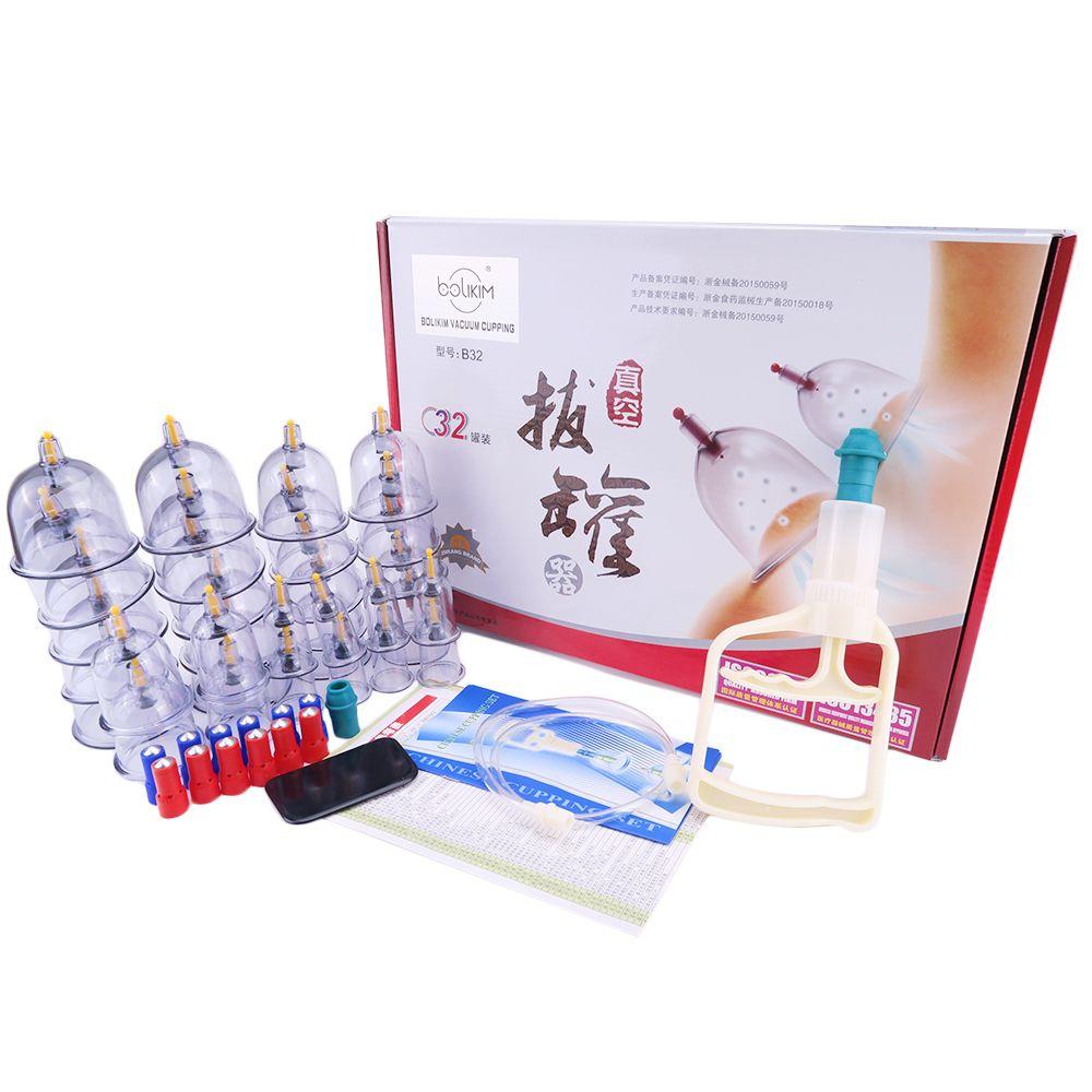 Pas cher 32 pièces Cans coupes vide chinoise ventouses kit sortir un appareil à vide thérapie se détendre massage courbe aspiration pompes