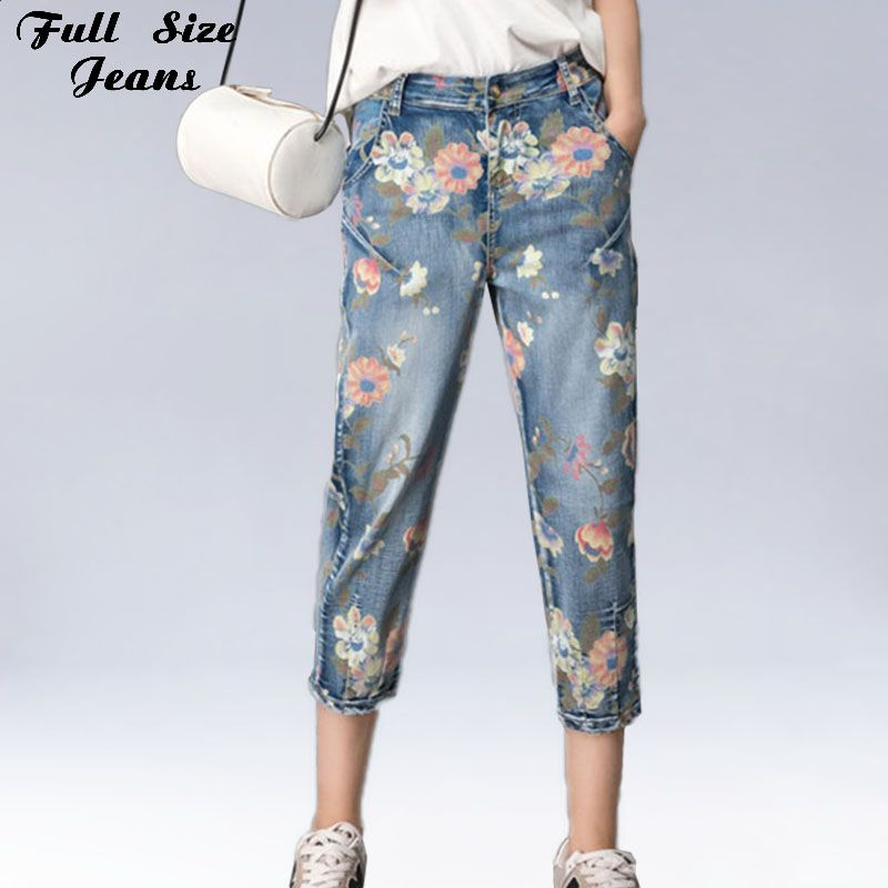 Plus Size Floral Print Color Painting Denim Jeans Loose Harem Pants High Waist Vintage Large Size Cropped Capris Jean XXXXL 6XL