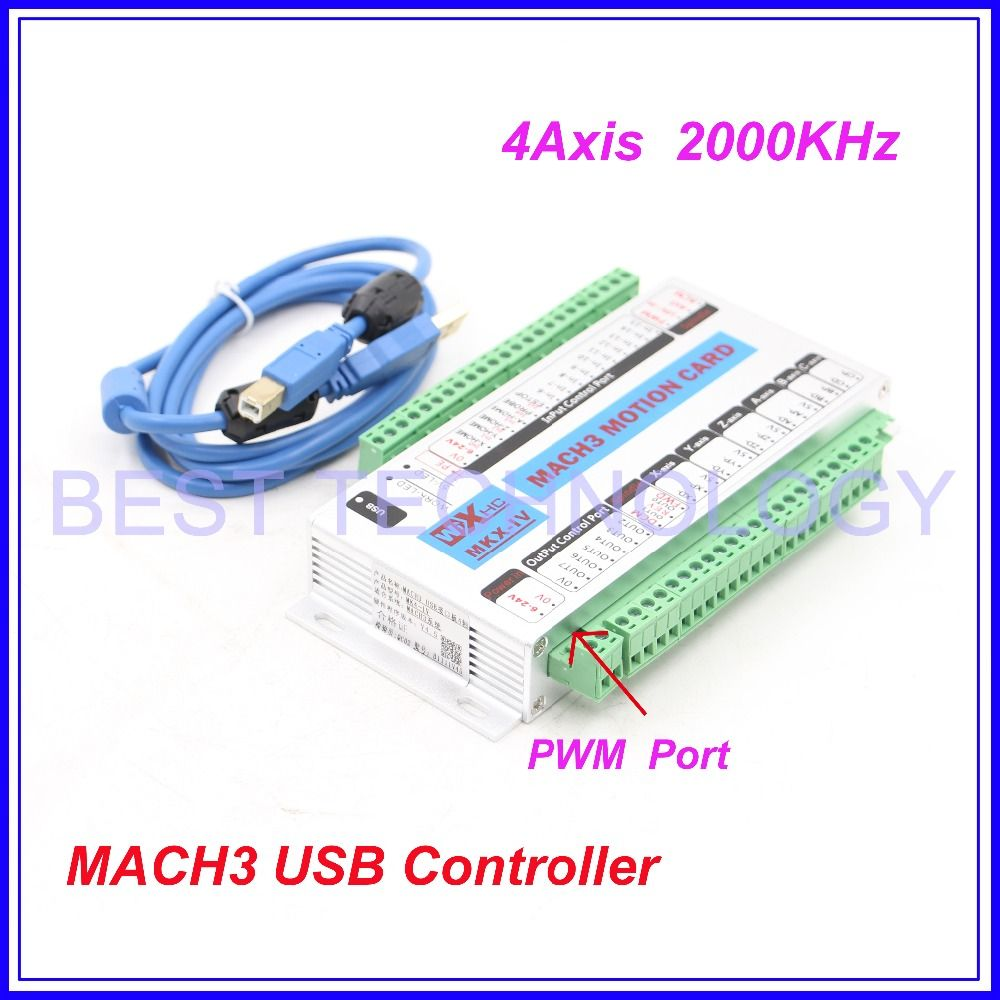 Freies Verschiffen 4 Achsen MACH3 USB CNC Motion Control-karte frequenz 2000 KHZ CNC Controller unterstützung schrittmotor und servo motor.