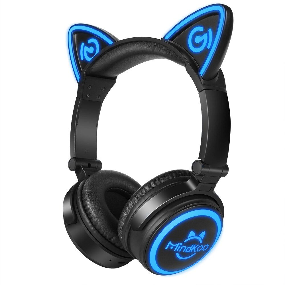 100% Original Mindkoo Cat Ear Headphone Foldable Wireless Bluetooth Auriculares Headphones with Mic Black Color Fone de ouvido