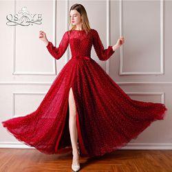 QSYYE 2018 Baru Anggur Merah Panjang Prom Dresses Penuh Mutiara Lengan panjang Tinggi Slit Sexy Evening Dress Party Gown Kustom dibuat