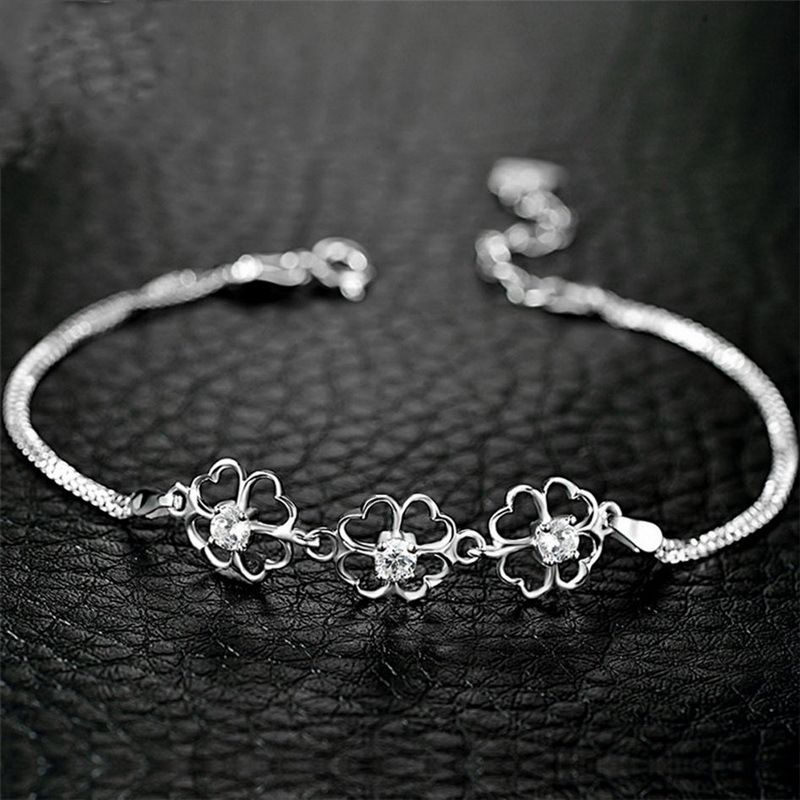 925 Sterling Silver Four Leaf Clover Charm Bracelets For Women Fashion Prevent Allergy Cubic Zirconia Jewelry