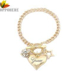 OPPOHERE Mode Argent Femmes Bijoux Cristal Manchette Charme Bracelet Chaîne Pendentif Bracelet