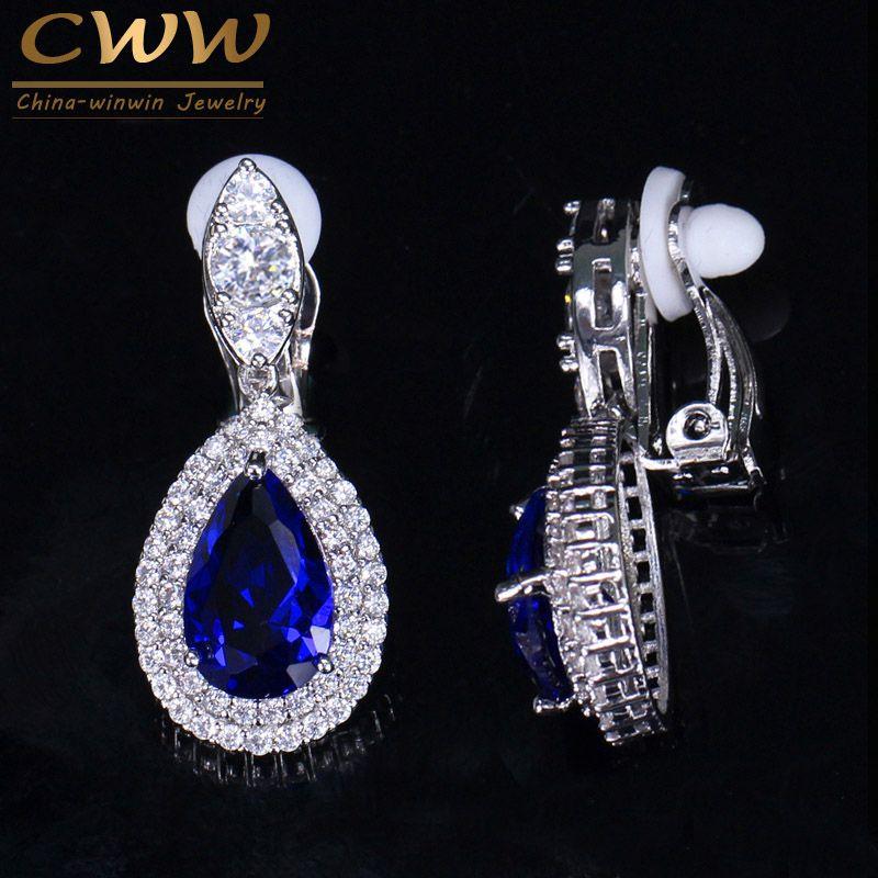 CWWZircons Fashion Women White Gold Color Dangle Drop CZ Royal Blue Crystal Paved No Pierced Ear Clip On Earrings Jewelry CZ164