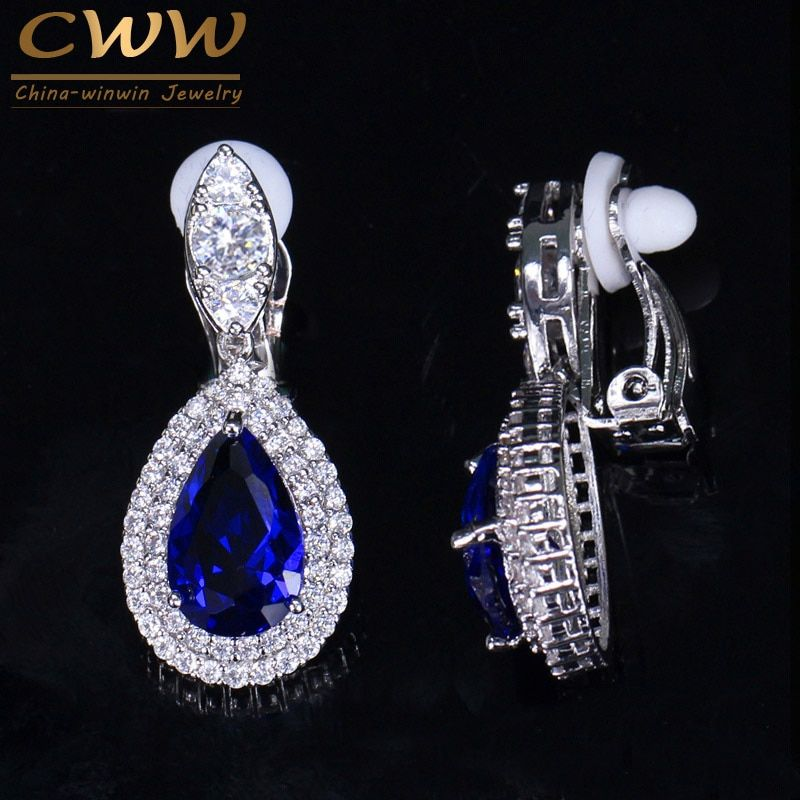CWWZircons Fashion Women White Gold Color Dangle Drop CZ Royal Blue Crystal Paved No Pierced Ear Clip On Earrings Jewelry CZ164