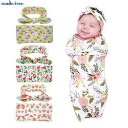 Newborn Swaddle Blanket Headwrap Hospital Swaddled Set Floral Baby Swaddle Set Headband Baby Photo Prop Top Knots