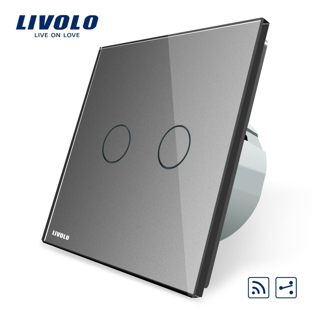 Livolo EU standard Touch Remote Switch, 2 Gangs 2 Way, AC 220~250V + LED Indicator, VL-C702SR-15,Without Remote Controller