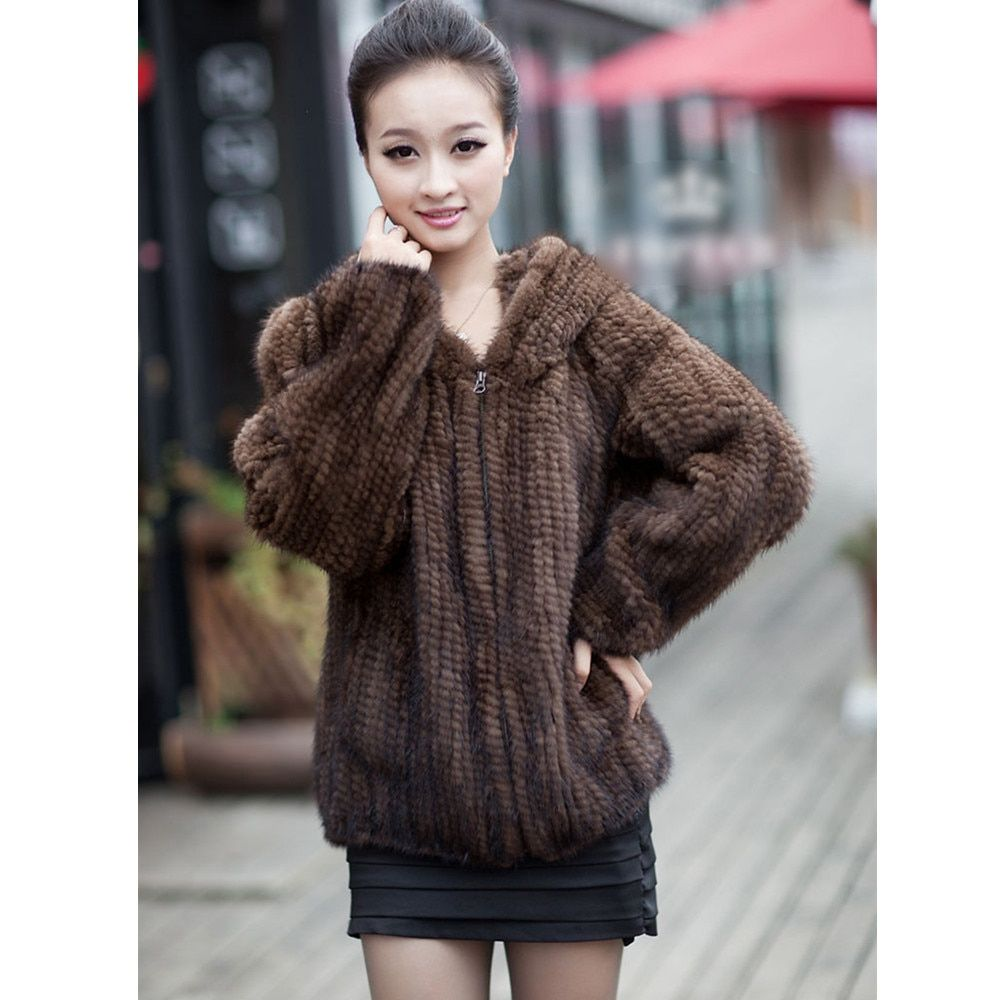 ZY81045 Real Fur Coat Jacket Women Genuine Real Knitted Mink Fur Outerwear Coats with Hood Size L to 4XL Plus Size Hoodies