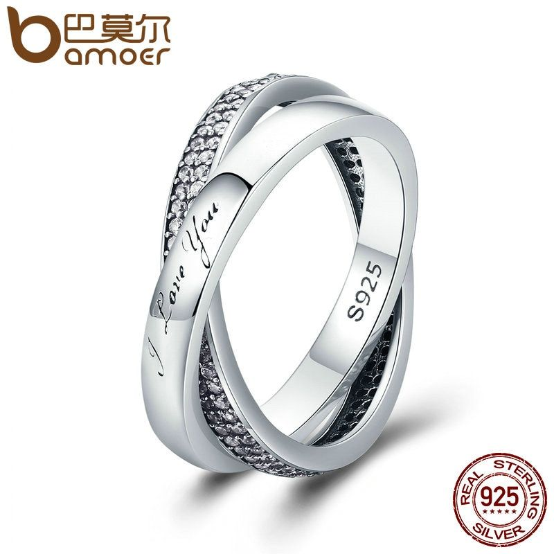 BAMOER 2018 New 100% 925 Sterling Silver Sweet Promise Ring, Dazzling CZ Female Finger Ring for Women Wedding Jewelry PA7651