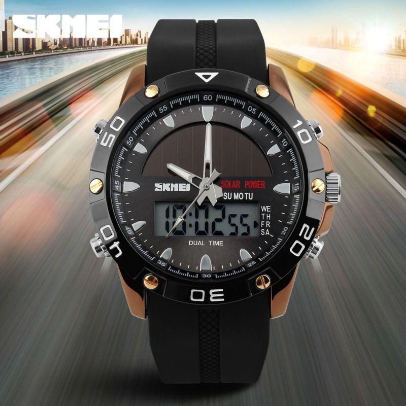 Brand Solar Energy Men's Quartz Watch Men Sports Watches Relogio Masculino Digital Multifunctional Outdoor Wristwatches SKMEI