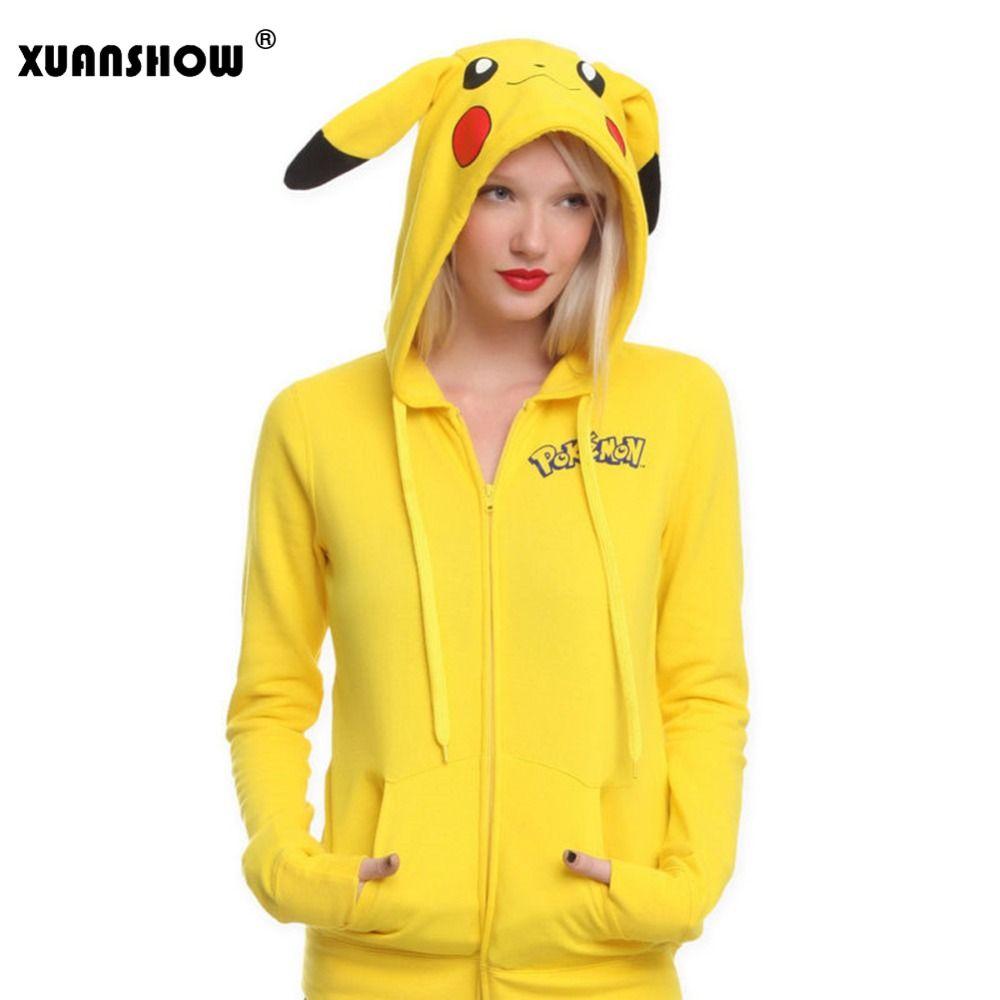 XUANSHOW Fashion Women Jacket Yellow Solid Pokemon Pikachu Printed Costume Tail Zip Totoro Hoodie Sweatshirt Sudaderas Mujer
