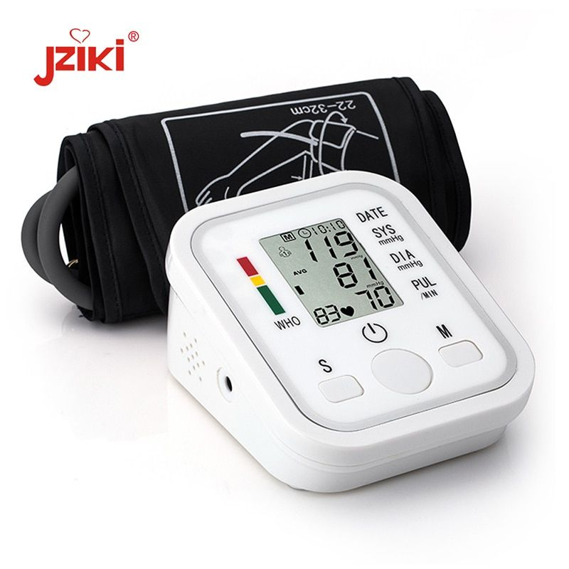 JZIKI Digital <font><b>Upper</b></font> Arm Blood Pressure Pulse Monitors tonometer Portable health bp Blood Pressure Monitor meter sphygmomanometer