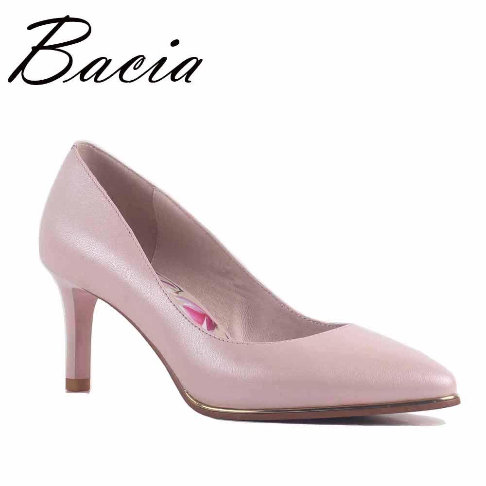 Bacia NOUVEAU Brevet En Cuir et Peau de Mouton Pompes 8 couleurs 6.8 cm Haute talon Pompes Rouge, Noir, Bleu, rose Qualité Bout Pointu Chaussures SA063