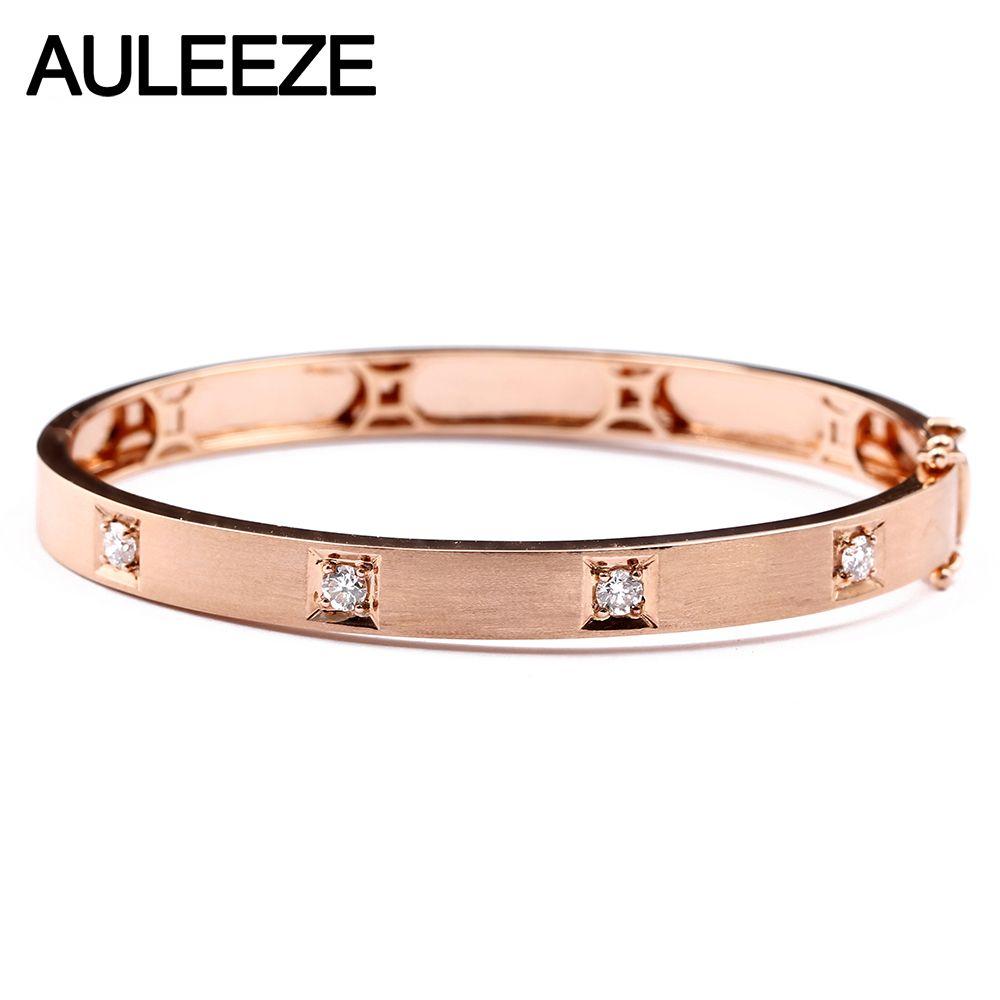 AULEEZE Klassische 0,40 CTTW Natürliche Diamant Echt 18 k Rose Gold Armreifen Für Frauen Schmuck