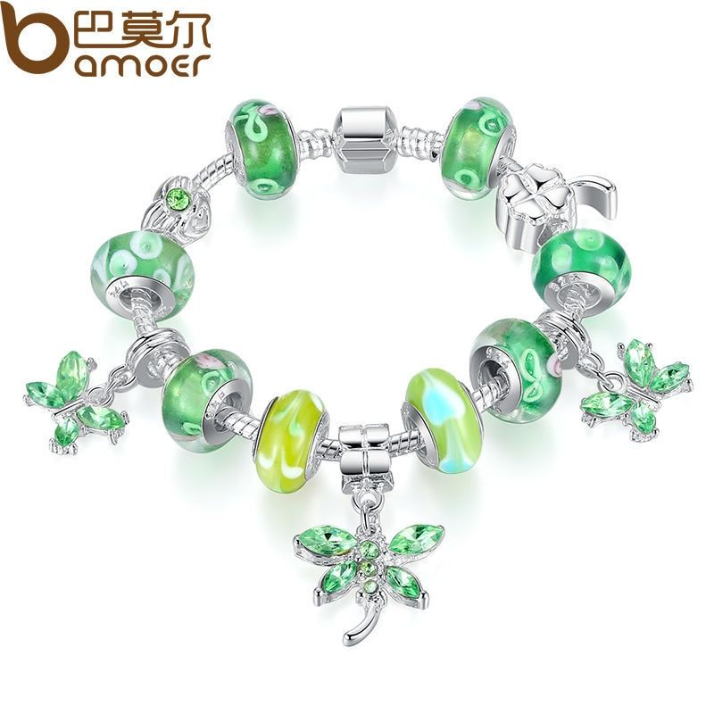 BAMOER Plata de La Mariposa Del Encanto Del Brazalete para Mujeres Con Cristal Verde Del Grano Europeo de Plata de la joyería DIY PA1191