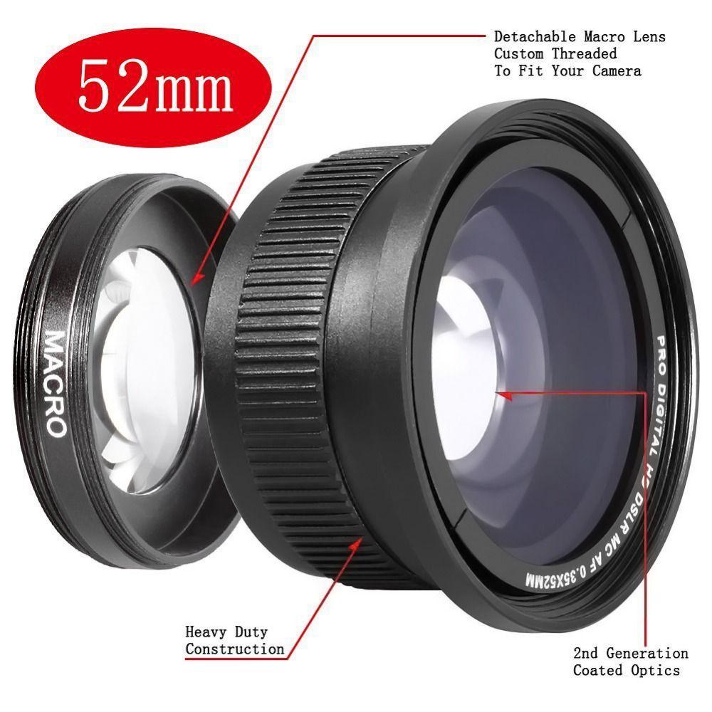 Neewer 52mm 0.35x Super Fisheye Grand Angle pour 52 MM Nikon D7200 D7100 D5200 D5100 D5000 D3100 D90 D60 Avec 18-55mm lentille
