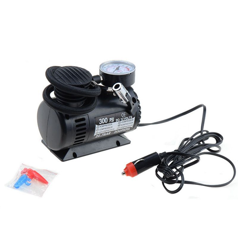 Black Mini 12V 300PSI Car Air Pump Tyre Compressor Portable Electric Car Air Pump Bike Type Air Inflator Bicycle Inflatable Pump