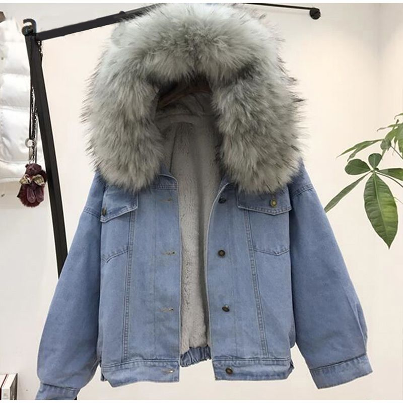 women jean jacket Winter Thick Jean Jacket Faux Fur Collar Fleece Hooded Denim Coat Female Warm Denim Outwea
