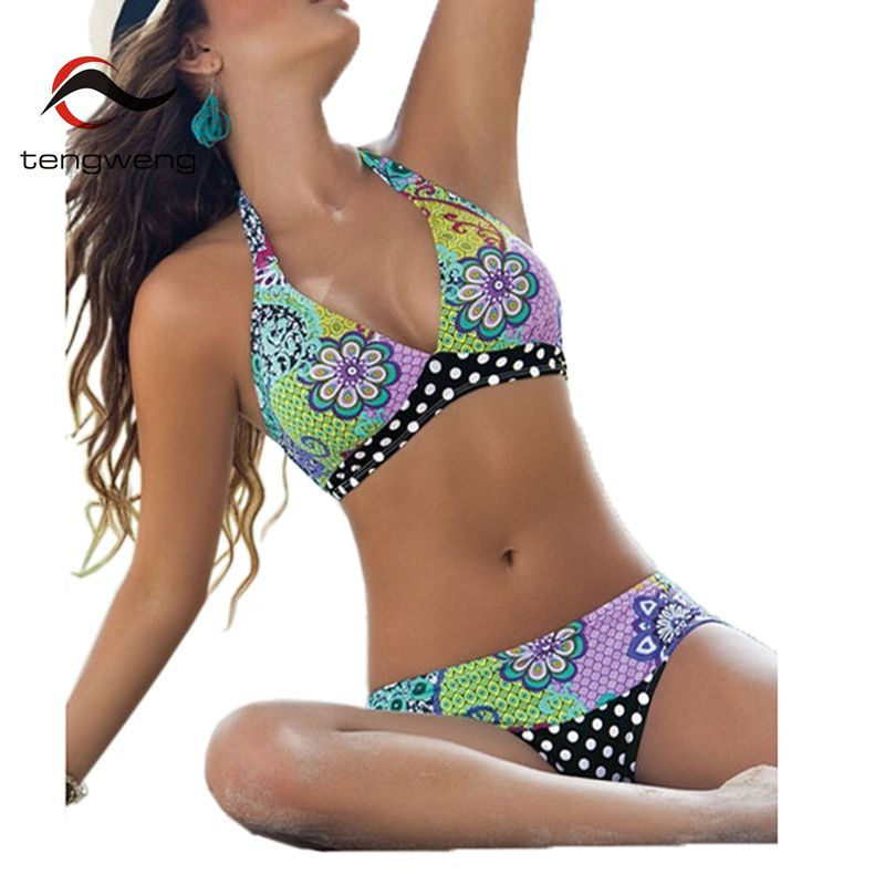 Tengweng 2019 licou imprimé Floral africain maillots de bain femmes maillot de bain brésilien Bikini deux pièces femme maillot de bain grande taille XXL
