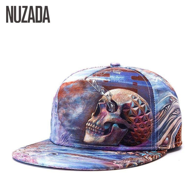 Brands NUZADA Printing Skull Punk Street Quality Cotton Men Women Hat Hats Baseball Cap Hip Hop Snapback Caps jt-024