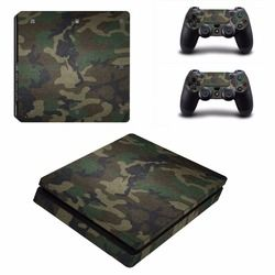 Camouflage Removable Waterproof Vinyl Skin decal stickers For PlayStation 4 Slim PS4 Slim Console+2 Controller protector Cover