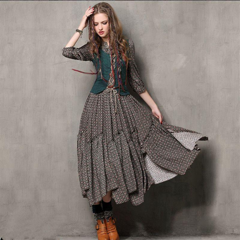 Automne tunique Vestidos Vintage col Mandarin robe en coton demi manches une ligne trois quarts manches Maxi femmes robes de broderie