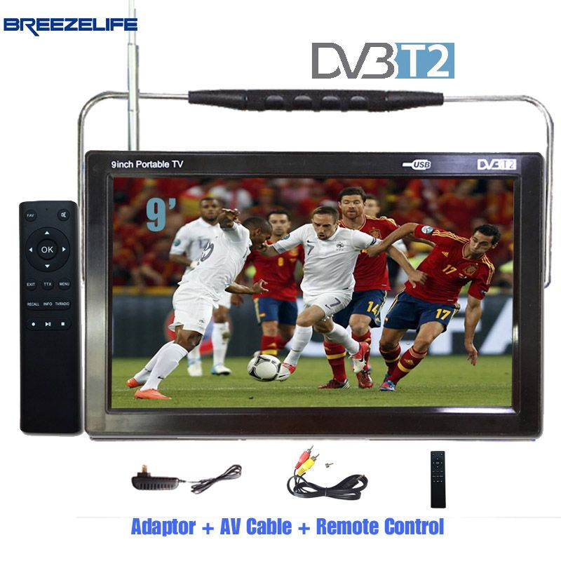 Breezelife TV Portable TV DVBT2 Portable TV 9 inch 10 inch DC12 Digital Portable HD DVBT HDMI Input for Car Portable TV