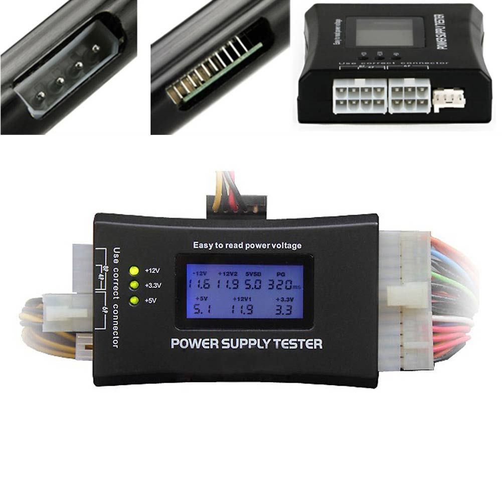 New Computer PC Power Supply Tester With LCD Diaplay 20/24Pin Checker For SATA HDD ATX BTX PCI-E CDROM Floppy 8 SL@88