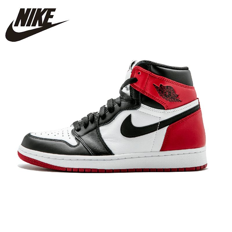 Nike Air Jordan 1 Schwarz Kappe Original Mens Basketball Schuhe Atmungsaktive Stabilität Turnschuhe Für Männer Schuhe #555088-125