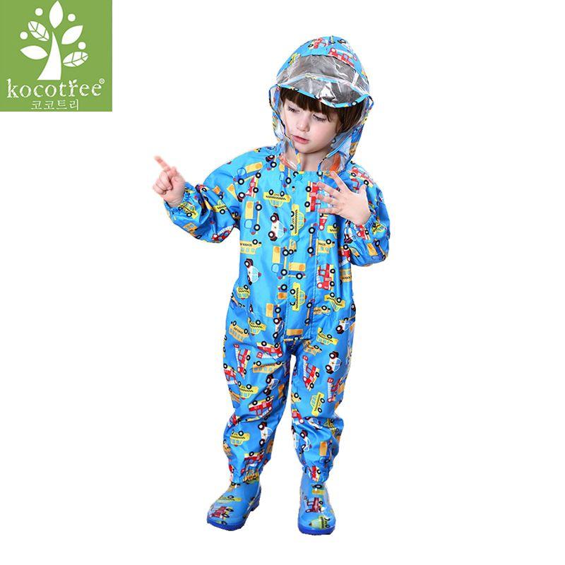 1-9 years old Kids Jumpsuit baby One-Piece Cartoon Kid students Hooded Raincoat Suit Children rainwear and rain-proof pants Set