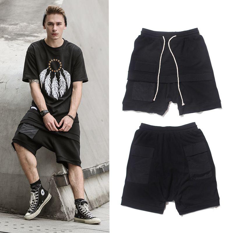 2017 verano moda hiphop Pantalones cortos algodón suelto hombre Pantalones cortos casual elástico cintura patinetas Pantalones cortos hip hop calle desgaste