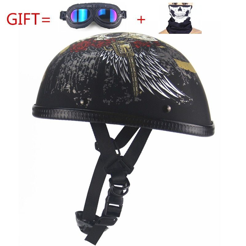 Free Shipping vintage Motorcycle Motorbike Vespa Open Face Half Motor scooter Helmets with goggles visor